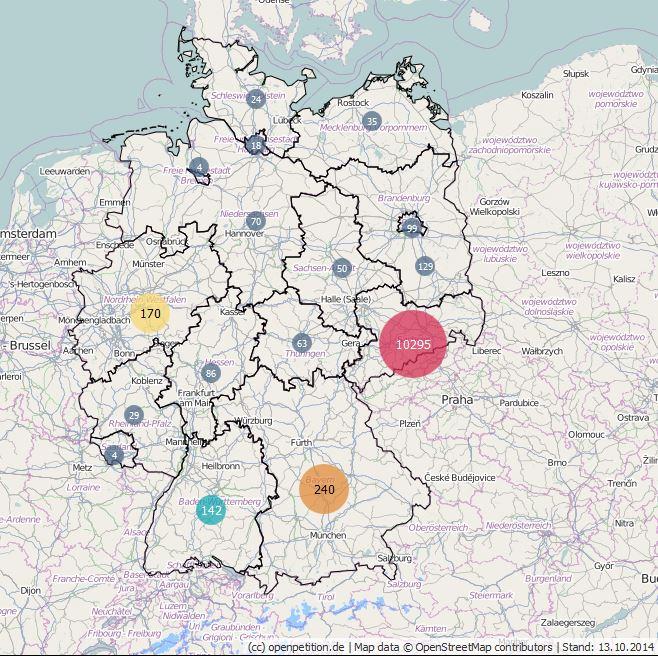 Karte zur Stimmenverteilung der Petition