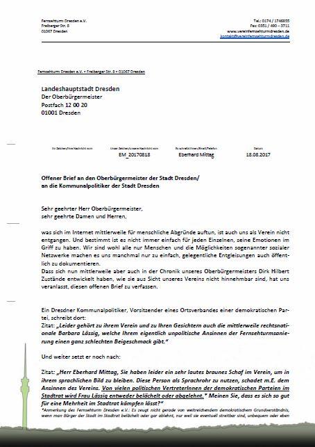 Offener Brief An Den Oberbürgermeister Der Stadt Dresden